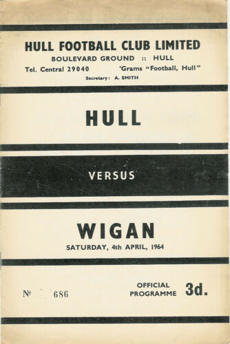 Hull v Wigan 4 Apr 1964 Boulevard Ground, Hull RUGBY LEAGUE PROGRAMME