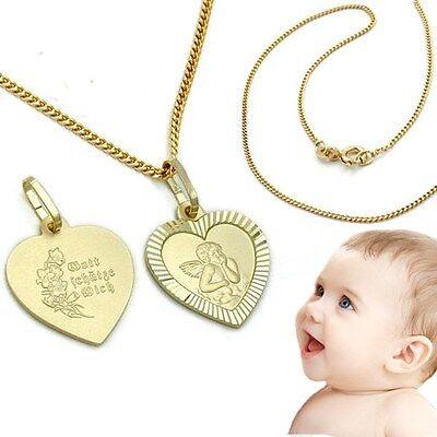 Baby Taufe Schutzengel Echt Gold 333 Gott schütze Dich mit 38 cm AMD Kette