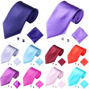BL-FT-Men-039-s-Fashion-Solid-Suits-Ties-Necktie-Cufflinks-Hanky-Set-Tuxedo-Suit-G
