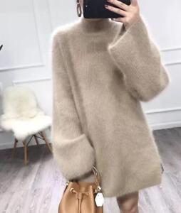 Fur maglione caldo maniche Womens collo Thick lunghe alto maglia pullover camicette a UOqxRw