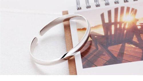 Bracelet jonc rigide rond ouvert Ajustable Plaqué Argent 925