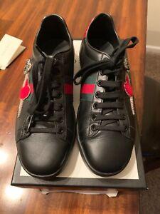 GUCCI Ace Pierced Heart Sneaker Black