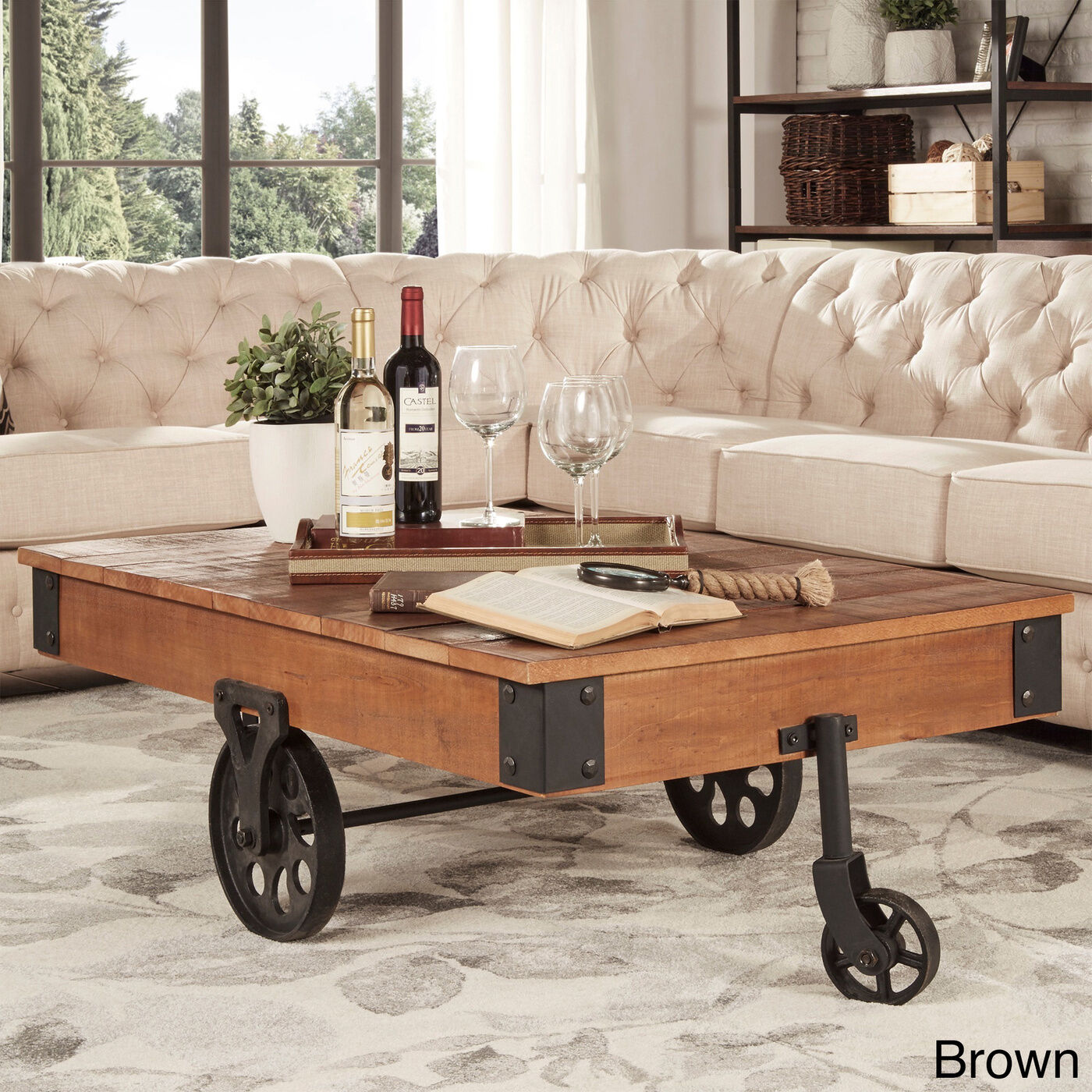 Rustic Coffee Table Industrial Wheels Cocktail Modern Wood