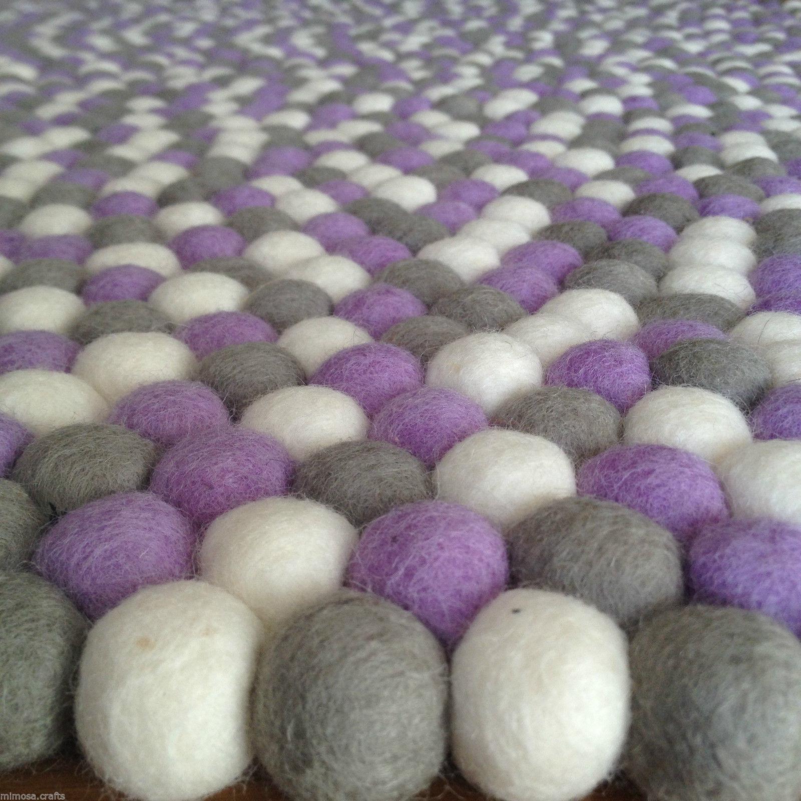 100% Woolen Nepalese Handmade viola Daisy Felt Ball Rug Kids Room Nursery Mat