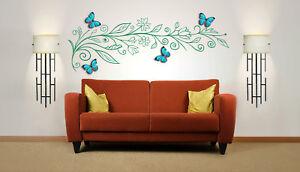 Flower-Tree-Branch-With-3D-Butterflies-Vinyl-Wall-Art-Sticker-Decal-Mural