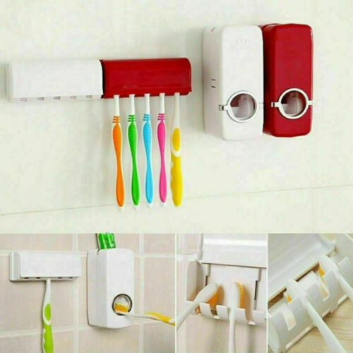 Automatic Toothpaste Squeezers Dispenser Bathroom Wall Mounted Toothbrush Holder