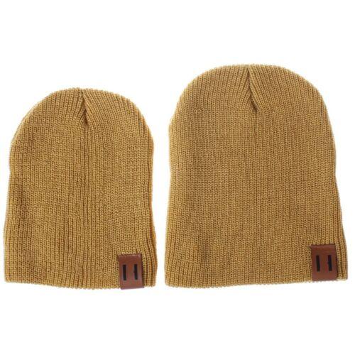 Family Matching Hat Mom Dad Kid Baby Winter Warm Knit Crochet Beanie Hat Ski Cap