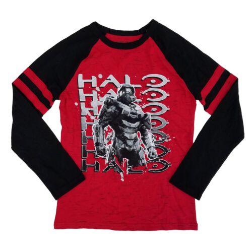 Halo Microsoft Studios Boys Red /& Black Master Chief Raglan Long Sleeve Shirt