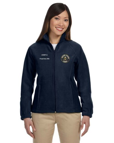 Army Broderet zip Personlig Nwt Fleece Full Women's Custom Us ZB1xUqB
