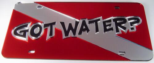Got water license plate mirror laser cut acrylic dive flag alpha diver chrome