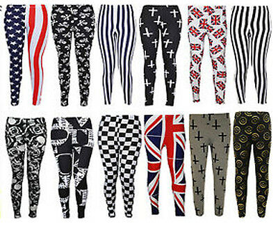 NEW LADIES PLUS SIZE FUNKY PRINTED STRETCHY VISCOSE FULL LEGGINGS TROUSERS 12-26