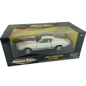 #36512B American Muscle White/Blue Stripes 1967 Shelby GT-500  Die Cast 1:18