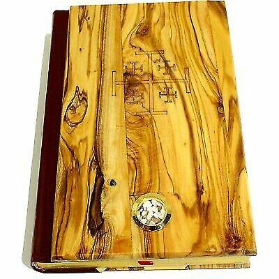 Madera de Olivo cubierto Milenio Biblia con  Jerusalén piedras's  Rojo-Cocheta King
