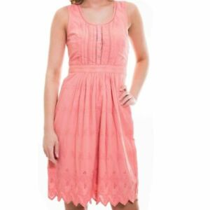Fat-Face-Size-12-14-16-Lined-Cotton-Coral-Broderie-Sleeveless-Dress