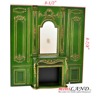 Details About Fireplace Wall Panel 1pc Royal Paneling Green Dollhouse Miniature 1 12 Diy Gr