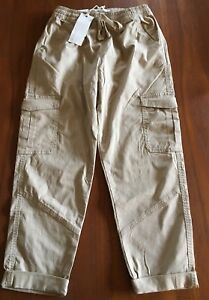 COTTON-ON-BNWT-Womens-Oats-Beige-Rolled-Hem-Stretch-Chino-Cargo-Style-Pants-10