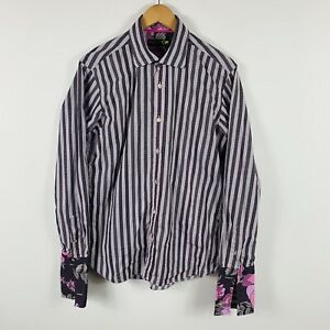 Ted-Baker-Mens-Button-Up-Dress-Shirt-Size-39-Medium-Floral-French-Cuff