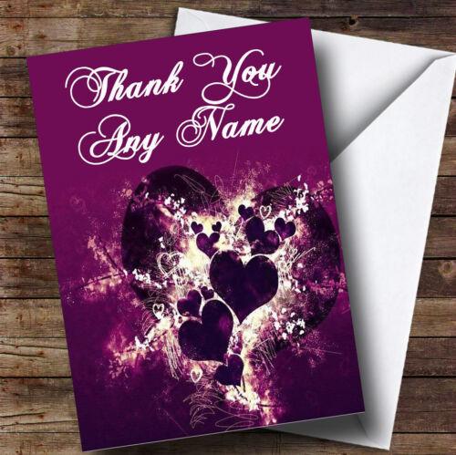 Violet cœurs et des vagues personnalisé merci carte de vœux