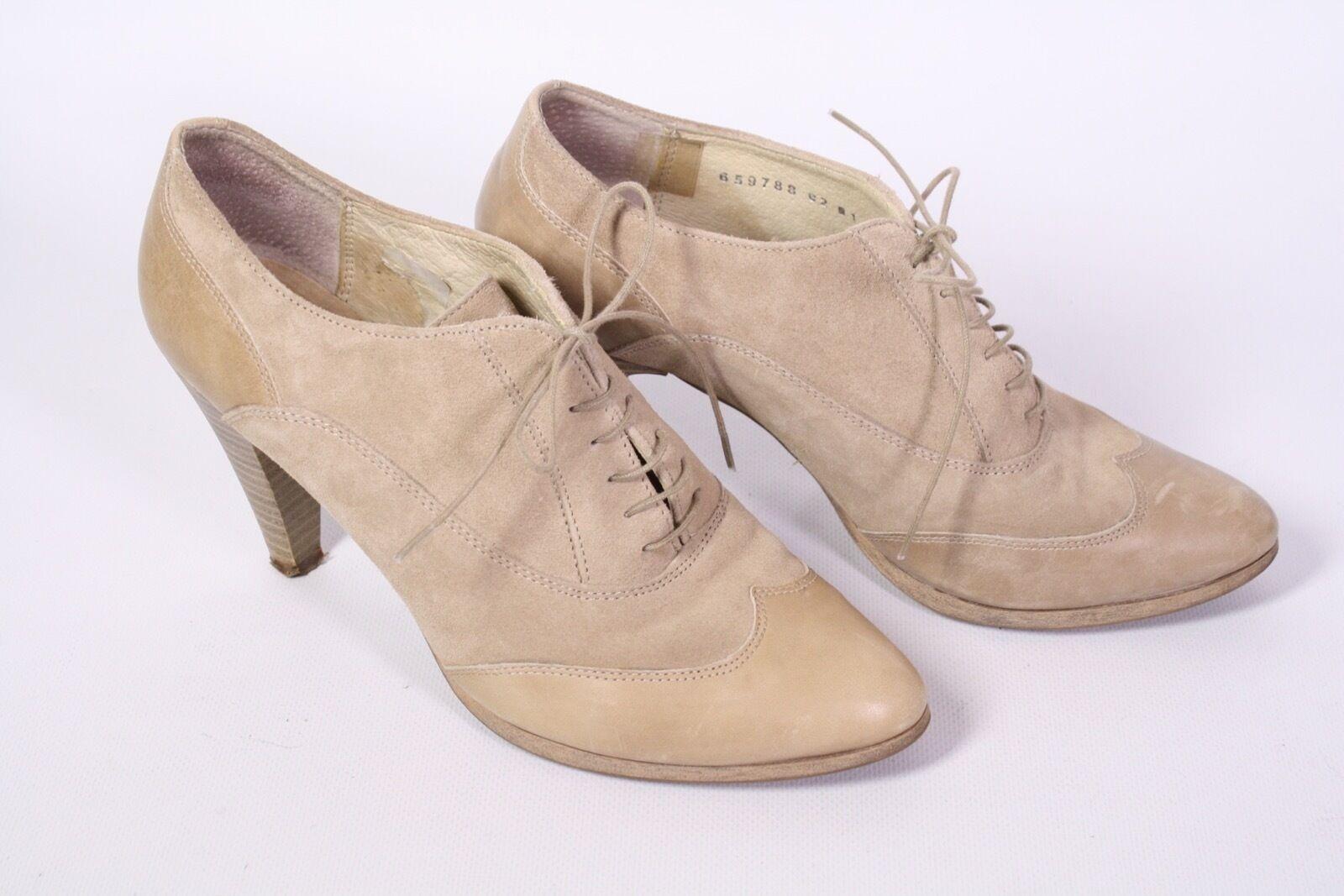 22D Görtz 17 Damen Ankle Boots Schnürpumps Velours Leder beige kitt Gr. 39