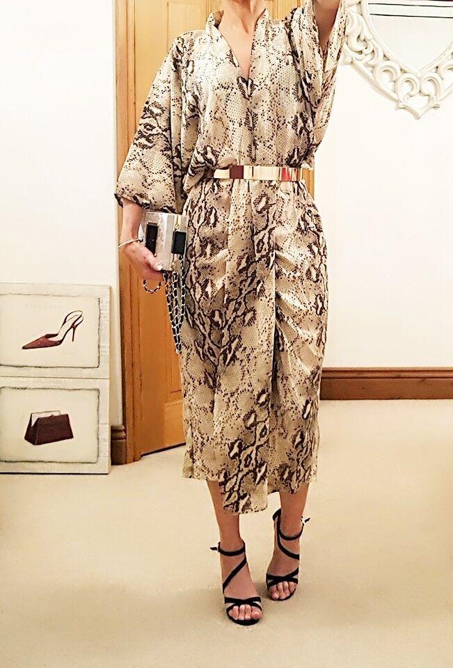 Crema Pelle di Serpente Marronee Glamour Designer Kimono Abito Da Sera 8 10 12 14 16