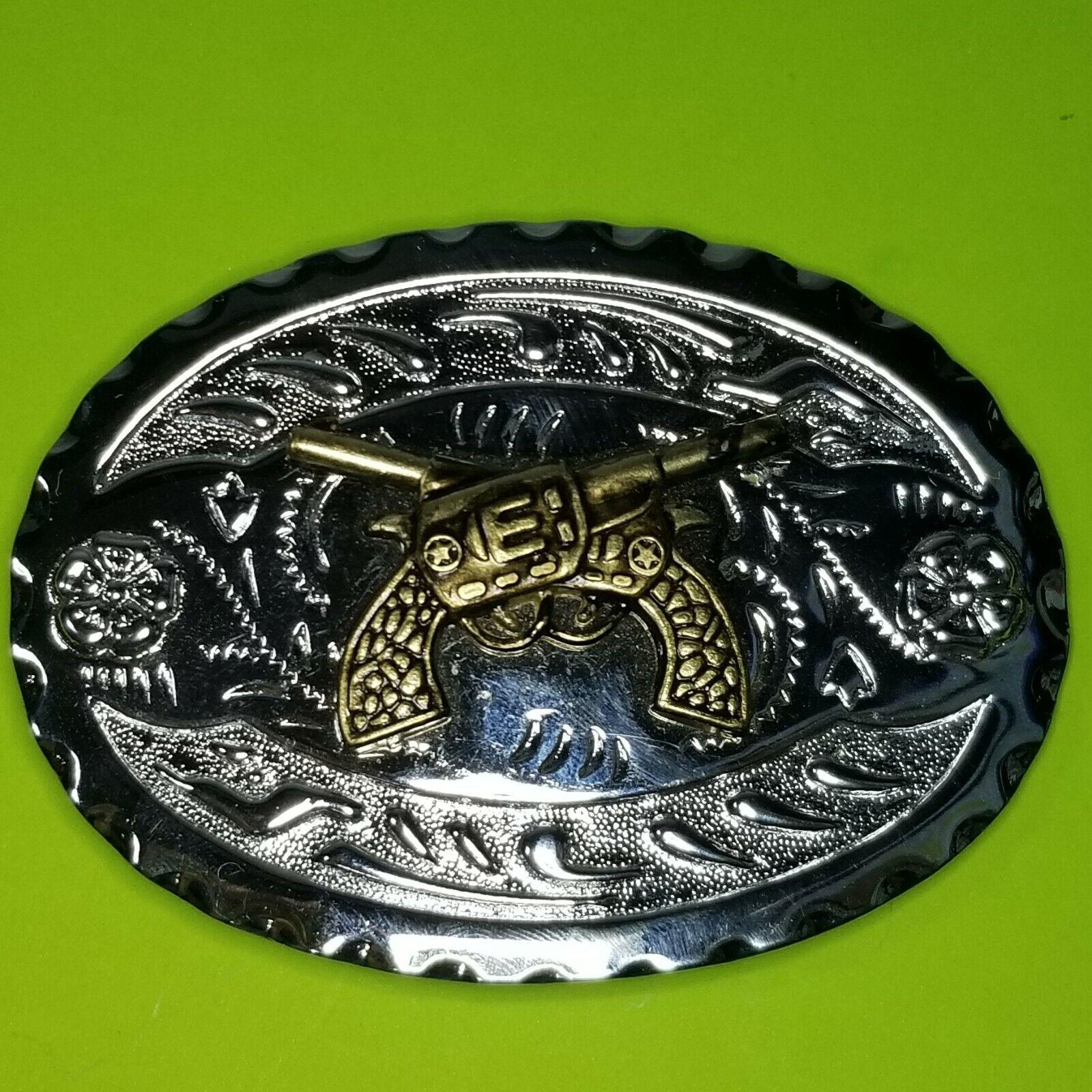 Crossed Guns Western Cowboy Belt Buckle Firearms Pistols Mixed Metal Stamped