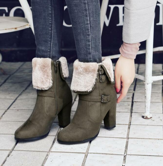 Womens Oxford Winter Warm Suede Mid Calf Boots Block High Heel shoes Sz35-43