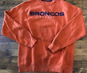 uk availability 43b81 c2f4d Details about Denver Broncos Mens Medium Orange Crewneck Sweatshirt Sewn  Embroidered NFL