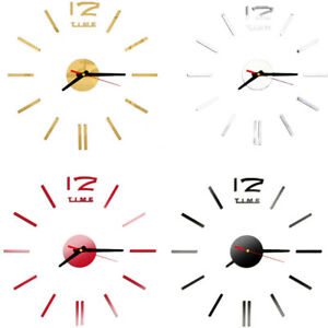 Fashion Clock Acrylic Plastic Mirror Wall Home Decal Decor Vinyl Art Stickers