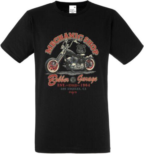 T Shirt schwarz HD V Twin Biker Chopper-/&Old Schooldruck Modell Mechanic Shop