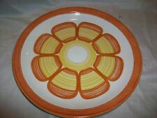 Vintage Retro Orange & Yellow Flower Plate Dinner Serving Round
