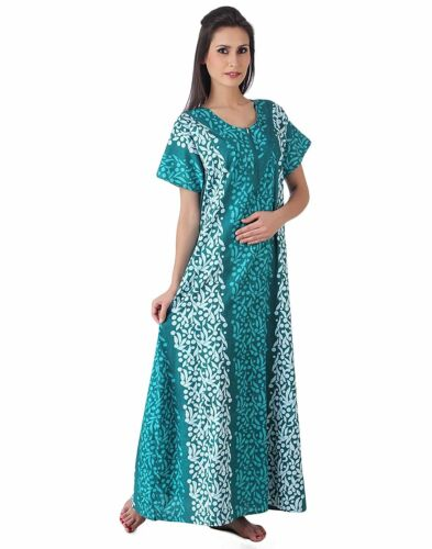Womens Long Cotton Nightdress  Floral Printed Maxi Caftan Gown Dress Coverup