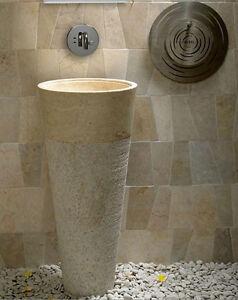 Free Standing Cream Marble Pedestal Sink Bathroom 90 cm x 40 cm ( Cono Model )