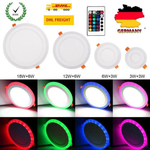 RGB LED Panel Licht Einbaustrahler Deckenleuchte rund ultraslim AC 100-265V DHL