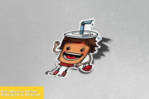 Coffee Cup Love Happy Vinyl Sticker Decal Window Car Van Bike 3563