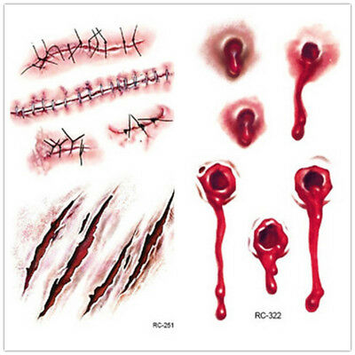 Halloween Costume Party Zombie Horror Scar Wound Tattoos Bite Fake Blood Make-Up