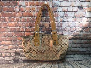 Coach-Soho-Brown-Tan-Leather-Trim-Tote-Shopper-Shoulder-Bag-Purse-F13117