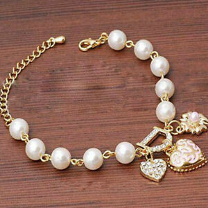 Women-Jewelry-Pearl-Flower-Gift-Love-Heart-Crystal-Bracelet-Bangle-Fashion-Charm