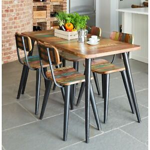 9907251e2a1d Coastal Chic Small Dining Table And Four Chairs Set Indian Wood ...
