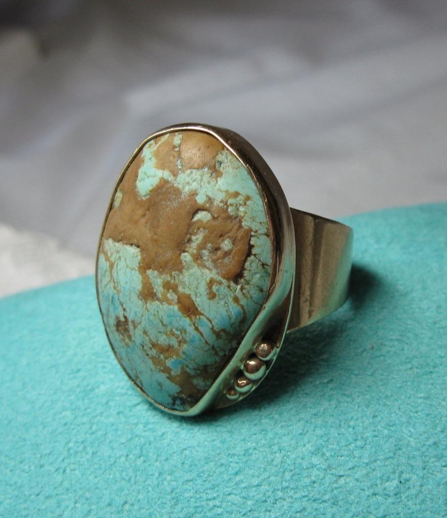 Monumentale Turchese Anello 10k oro Rétro Metà Secolo Moderna Eames Eames Eames Epoca 1fcf3f
