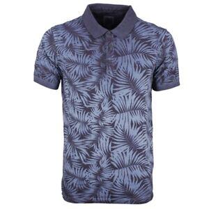 d0fdeec1 Garcia Men's Polo Shirt Navy Blue Tropical Print B91285 70 Navy | eBay