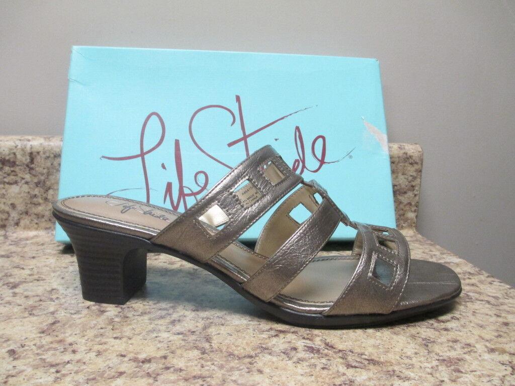 Life Stride Shore Slide Sandal 11 M Light Pewter New in Box