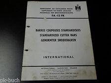 Teilekatalog Parts Catalog International Harvester genormter Schneidebalken