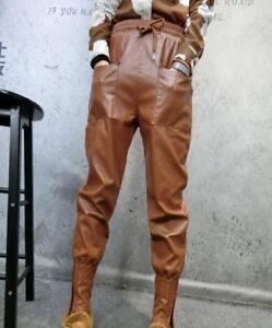 Lady Winter Autumn Casual PU Leather Slim Fit Fashion Elackstic Slacks Pants New