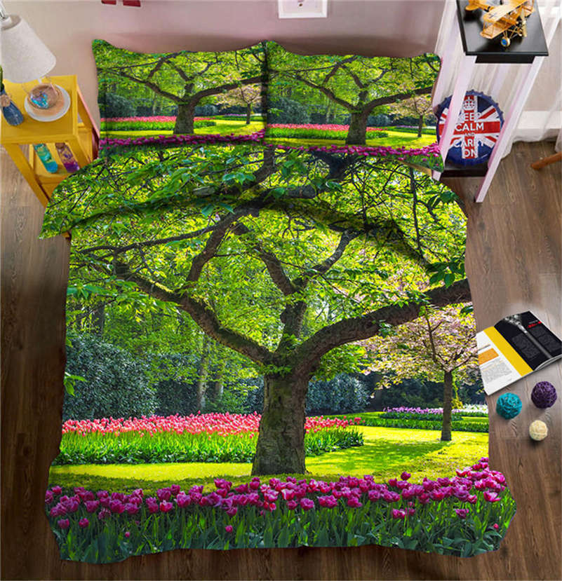 Big Rainbow Tree 3D impression Duvet Quilt Doona Covers PilFaible Case Bedding Sets