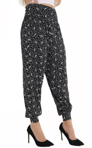 Women Ladies Paisley Print Cuffed Bottom Ali-Baba Hareem Trouser Pant Plus Size