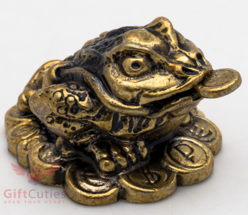 Solid Brass Frog with coin Feng Shui talisman charm luck IronWork