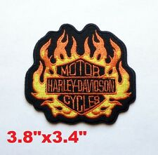 HARLEY-DAVIDSON Embroidered New Biker Patch Old Stock Flame Logo Iron On Patch