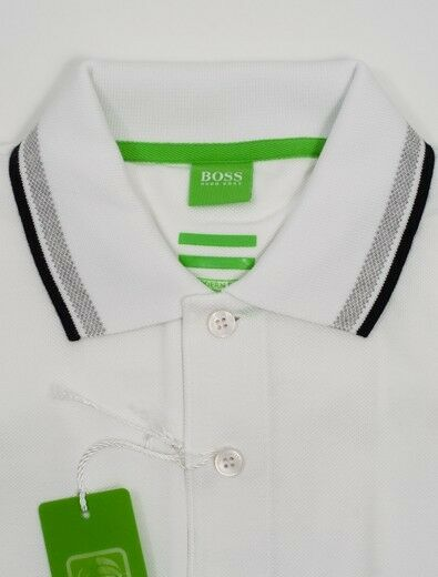 New Hugo Boss White Cotton Polo with Logo Size L