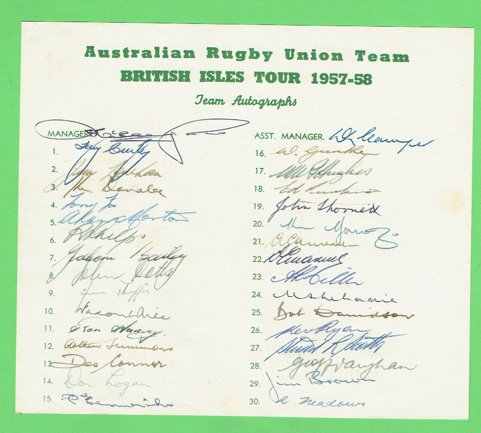 T308. AUSTRALIAN  RUGBY UNION TEAM SIGNATURES - BRITISH ISLES TOUR 1957-58
