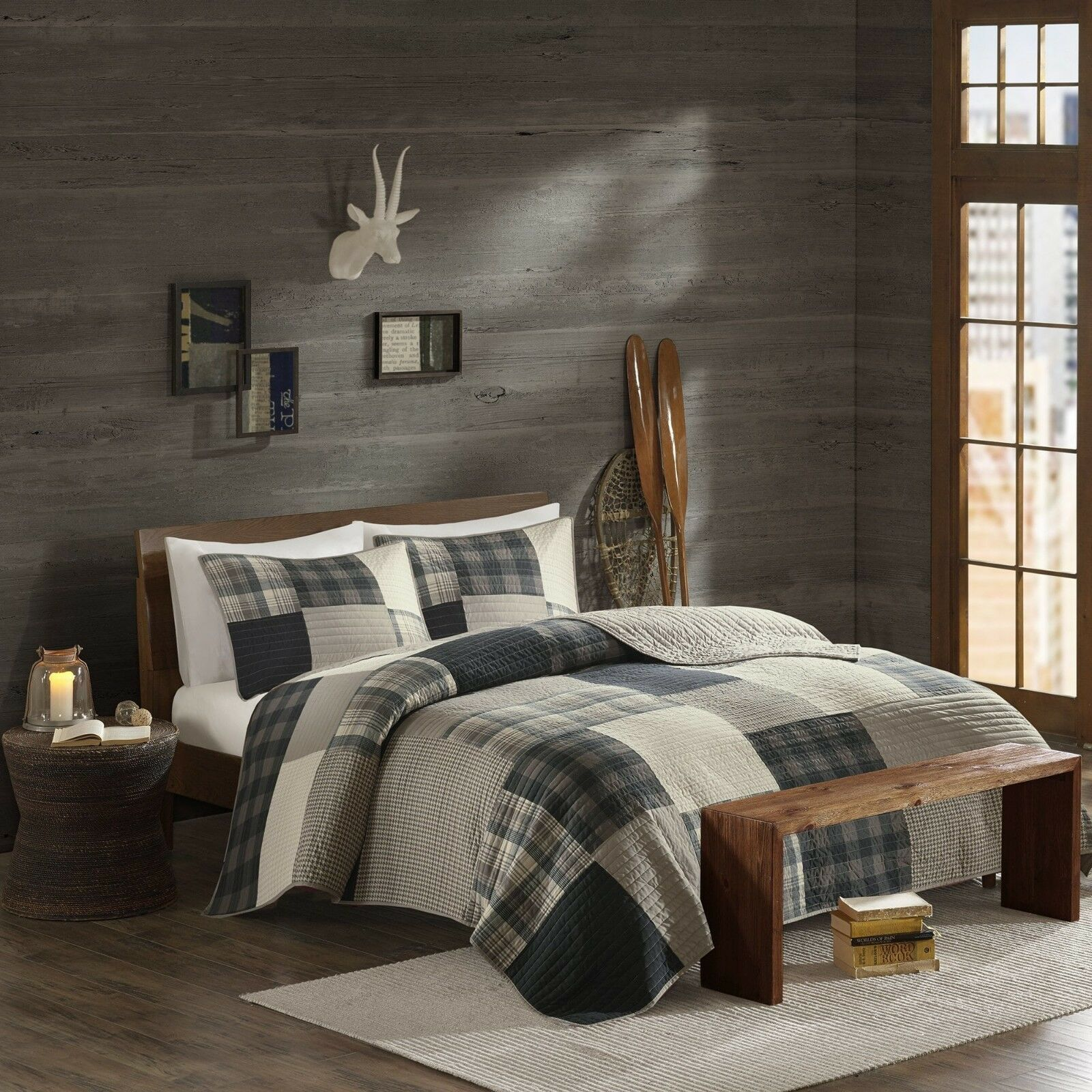 BEAUTIFUL MODERN COZY LODGE HUNTING LOG CABIN GREY WHITE BEIGE PLAID QUILT SET